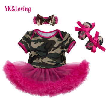 Baby Dress Infant Camo Girls Dress with Red Ruffle Cotton Fashion Baby Girl Vestidos + Shoes + Headband Set New style 2017
