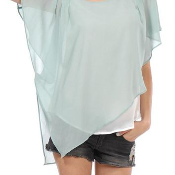 Short Flutter Sleeve Chiffon Top