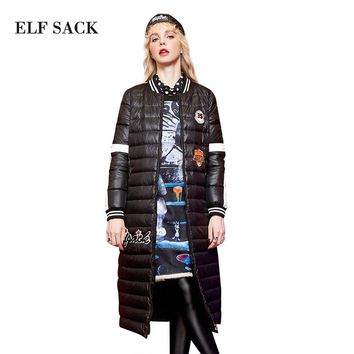 ELF SACK Winter Women Down Coats Fashion Letter Print Graffiti Long Outerwear Long-Sleeve Stripe Appliques Down Coats
