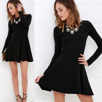 Women's Fashion Zippers Slim Long Sleeve Knit One Piece Dress [7788771399]
