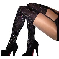 Sexy Rhinestone Tights Stockings Mesh Female Pantyhose In A Grid  Women Bling Tights Slim Party Club Hosiery Sheer Nylon SW077