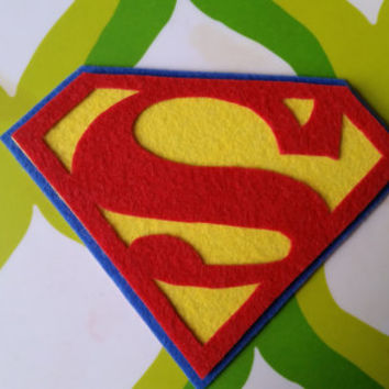 Superman Inspired Adhesive Patch / Magnet- Superhero Sticky Felt Patch / Sticker