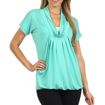 Slouchy Pleated Draped Cowl Neck Nursing Top