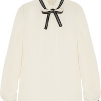 Dolce & Gabbana - Embroidered silk-blend crepe blouse