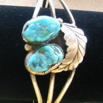 Bracelet Vintage turquoise sterling silver cuff arizona large nuggets american native heritage
