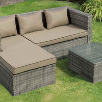3 pc liz kona collection steel frame and pe resin wicker mesh patio sectional set