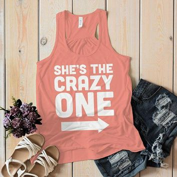 Women's She's The Crazy One Best Friend Cotton Flovy Tank Top Racerback (Left)