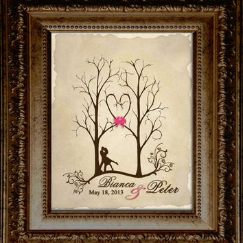 Old Love Letter ThumbPrint Signature Wedding Tree Guest Book Alternative / Gift / Trees with Couple Silhouette and Love Birds