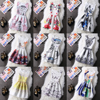 Womens Summer Dress 2016 New Style Casual Vintage Dresses O-Neck Sleeveless Floral Print Large Size Bottoming Dress Vestidos