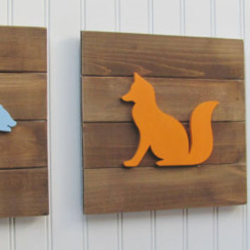 Woodland Nursery, Nursery Decor, Tribal Decor, Woodland Decor, Nursery Wall Art, Pallet Board, Pallet Sign, Fox, Deer Woodland Animals, Bear