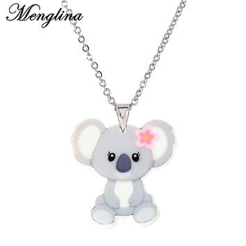 Menglina Cute Acrylic Baby Animal Pendant Necklace For Little Girls Silver Tone Chain Lovely Animal Resin Necklaces & Pendants