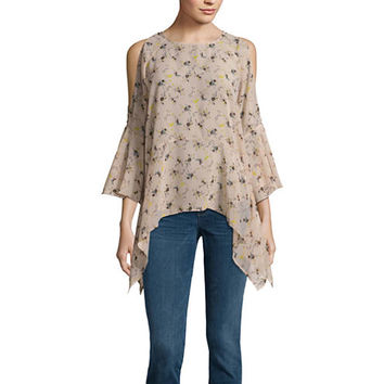 Buffalo Jeans 3/4 Sleeve Floral Ruffle Cold Shoulder Top - JCPenney