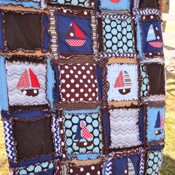 RAG QUILT, Applique Boat, Red and Blue, Toddler Bed Size for Baby Boy, Made to Order