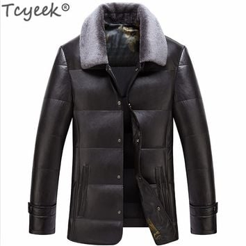 KMETRAM 2017 New Winter Thick Warm Solid Men 90% Withe Duck Down Coat High Quality PU Leather Jacket Parka Pluma Hombre HH188