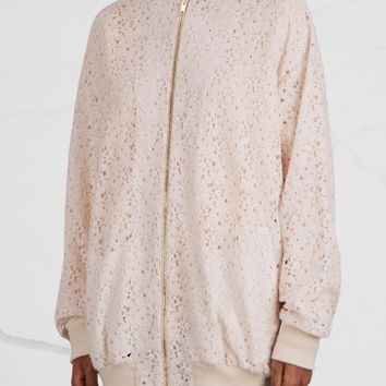 Stella McCartney Simone off white lace bomber jacket