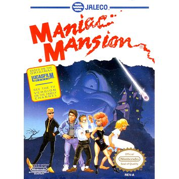Retro Maniac Mansion Game Poster//NES Game Poster//Video Game Poster//Vintage Game Cover Reprint