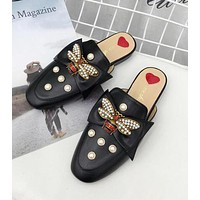 Gucci New Popular Women Casual Bee Pearl Half Slipper Sandal Shoes Black