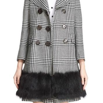 MARC JACOBS Double Breasted Check Coat with Removable Faux Fur Collar | Nordstrom