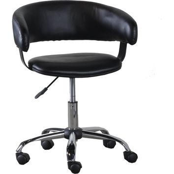 Black Leatherette Gas Lift Office Chair Chrome