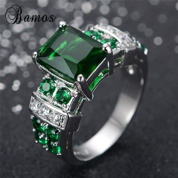 Bamos Geometric Green Zircon Rings For Women/Lady/Girl Wedding Gift White Gold Filled May Birthstone Ring Fashion Jewelry RW0450