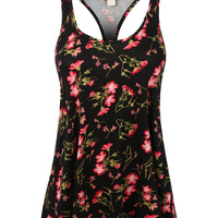 Womens Flowy Floral Print Racerback Loose Tank Top with Stretch