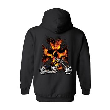 Unisex Zip Up Hoodie Motorcycle Flames Skull Cross