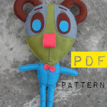 Sewing pattern bear. Toy bear 10,5 inches. DIY Handstitched Felt Toy Pattern. How to sew.