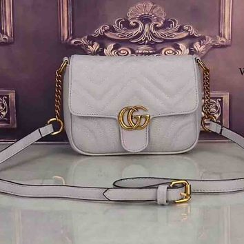 GUCCI women's elegant and elegant leather handbag F-LLBPFSH White