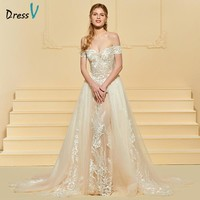 Dressv Long Wedding Dress Off The Shoulder Tulle Sleeveless Watteau Train Sheath Appliques Lace Custom Elegant Wedding Dress