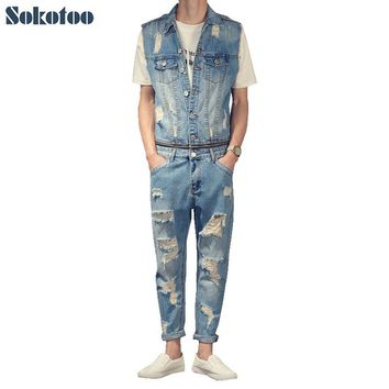 Sokotoo Men's casual sleeveless ankle length overalls Hole ripped jeans Denim detachable jumpsuits