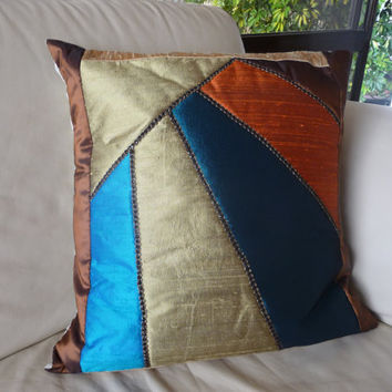 Free shipping. Quilted pillow cover. A gift for mothers day, for grandparents, for golden wedding anniversary, and for housewarming