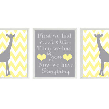 Giraffe Nursery Art Print Set  - Chevron Yellow Gray Decor - First We Had Each Other Quote - Modern Baby Room - Wall Art Home Decor