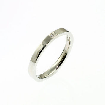 Ready to ship, size 6, Platinum ring with diamond, platinum engagement ring, simple wedding ring, modern, unique, platinum wedding
