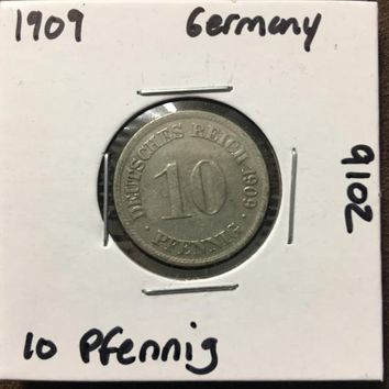 1909 German Empire 10 Pfennig Coin 9102