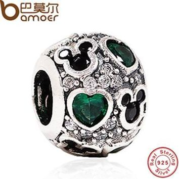 Baby Gift Charms Fit Original Bracelet Necklace 925-Sterling-Silver Mouse Dark Green Heart Bead Jewelry Making PAS128