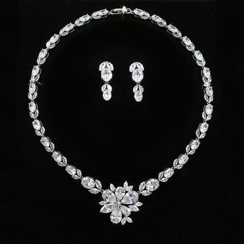 WEIMANJINGDIAN Luxury Large Flower Cubic Zirconia Wedding Bridal Necklace and Earring Set