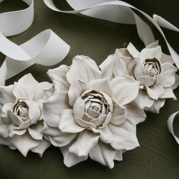 Ivory leather floral bib necklace - Made to Order