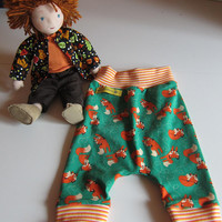 Baby Bloomers pants with reversible bib set, Tigers, Handmade size 3-6mo