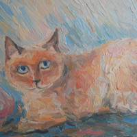 Siamese Cat Custom Painting Pastel Colors Pet Portrait Memorial Interior Wall Decor for Nursery Picture Animal Still Life Photo to Painting
