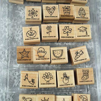 """Stampin Up Stamp Set - Rubber Stamps - """"Year Round Fun II"""", Retired, NEVER USED Mint -  Scrapbooking, Cardmaking"""
