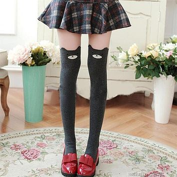 1 Pair Women Lady Girls Favorite Cute 3D Cartoon Animal Cat Bear Face Thigh Stockings Funky Over Knee High Socks
