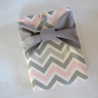 iPad Mini Sleeve iPad Mini Case iPad Mini Cover Kindle Nook Nexus Grey Chevron with Candy Green Bow