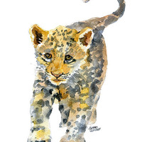 Baby Jaguar Watercolor Painting - 5 x 7 - Giclee Print - panther Leopard Animal Painting