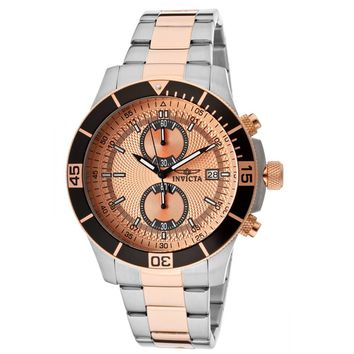 Invicta 12653 Men's Specialty Rose Gold Dial Two Tone Rose Gold Steel Chronograph Watch