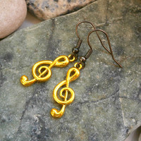 Yellow Treble Clef Earrings - Bohemian Handmade Jewelry - 6 Colors To Choose From!!!