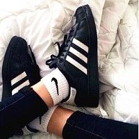"""""""Adidas"""" Suprstar Casual Sport Shell-toe Flats Shoes Wome Men Sneakers Sport Shoes Black-white line B"""