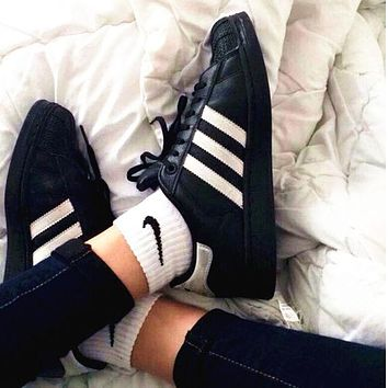 """Adidas"" Suprstar Casual Sport Shell-toe Flats Shoes Wome Men Sneakers Sport Shoes Black-white line B"