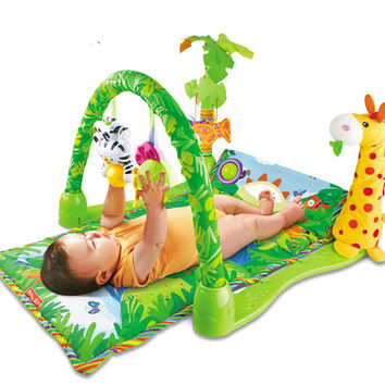Baby Toy Play Mat Twist and Fold Activity Gym Play Gym Playmats Musical Soft Colorful Gymini Playmat with Many Toys 82*60*46cm