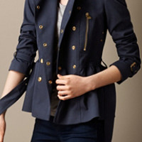 Cotton Twill Peplum Trench Jacket