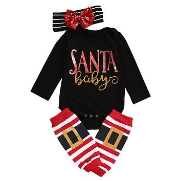 """3PC """"Santa Baby"""" Outfit Black Long Sleeve Bodysuit Matching Leg Warmers and Headband"""